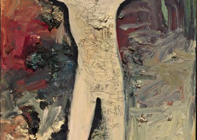 """Jess Collins painting """"Danger Don't Advance"""": Salvages IX (last painting)"""