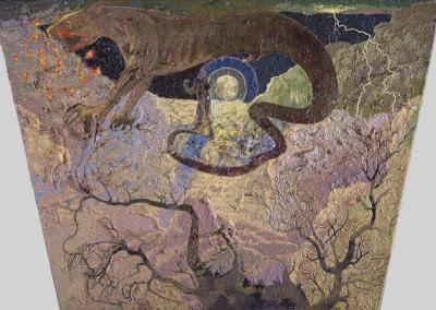"Jess Collins painting ""Rintrah Roars…."": Salvages VI"